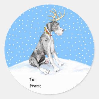 Great Dane Reindeer Christmas Merle UC Gift Tags