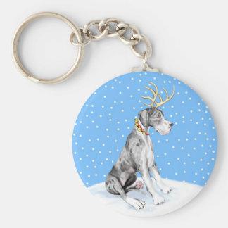Great Dane Reindeer Christmas Merle UC Keychain