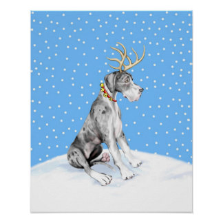 Great Dane Reindeer Christmas Merle UC Poster