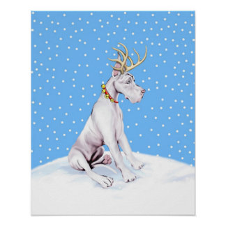 Great Dane Reindeer Christmas White Poster