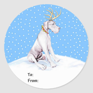Great Dane Reindeer Christmas White UC Gift Tags