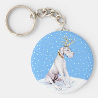 Great Dane Reindeer Christmas White UC Keychain
