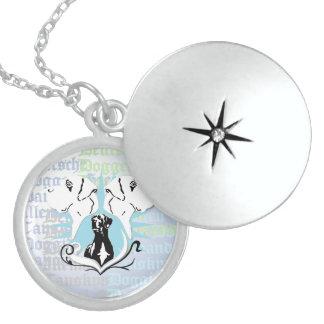 Great Dane round logo Round Locket Necklace