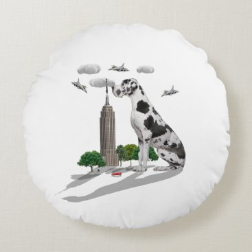 Beach Themed Great Dane Round Pillow