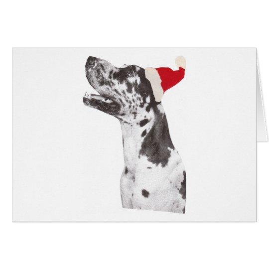 Great Dane Santa Hat Card