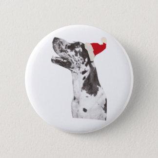 Great Dane Santa Hat Pinback Button