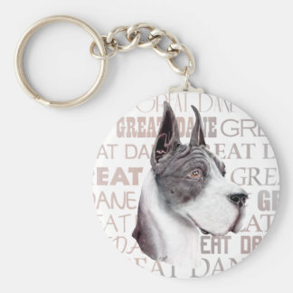 Great Dane Show Colors Mantle Basic Round Button Keychain
