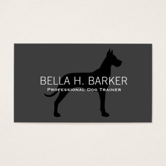 Great Dane Silhouette Black on Grey Business Card