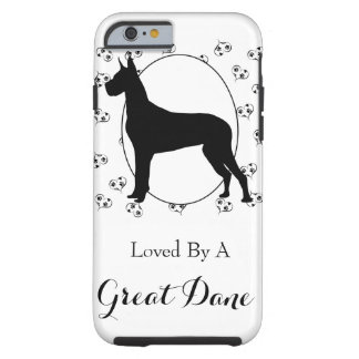 Great Dane Silhouette Hearts and Paw Prints Tough iPhone 6 Case