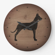 Great Dane Silhouette Rustic Style Large Clock