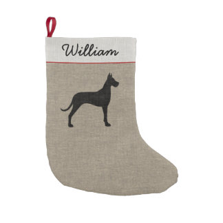 Great Dane Silhouette with Custom Text Small Christmas Stocking