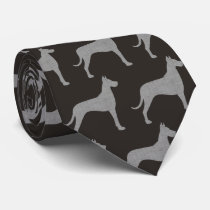 Great Dane Silhouettes Pattern Neck Tie
