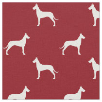 Great Dane Silhouettes Pattern Red Fabric