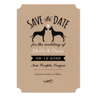 Great Dane Silhouettes Wedding Save the Date Card