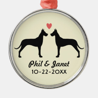 Great Dane Silhouettes with Heart and Text Metal Ornament