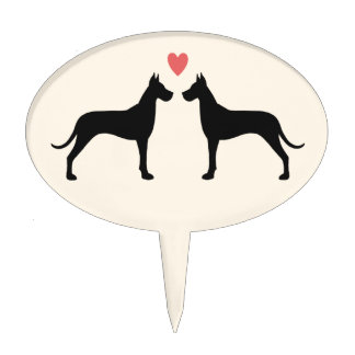 Great Dane Silhouettes with Heart Cake Picks