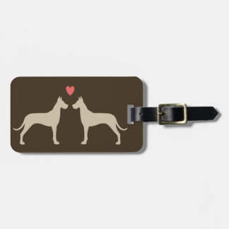 Great Dane Silhouettes with Heart Luggage Tag
