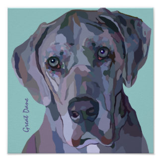 Great Dane Silver Merle Painting Poster