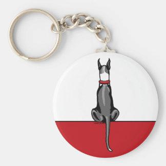 Great Dane Sit Mantle Basic Round Button Keychain