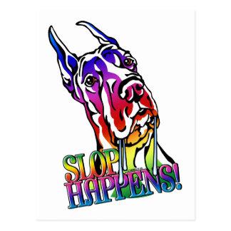 Great Dane Slop Happens Bright Postcard