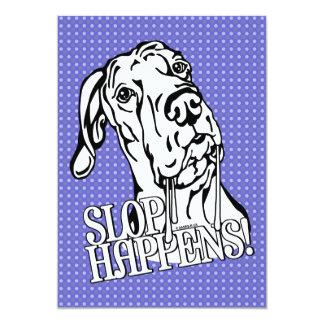 Great Dane Slop Happens BW UC Invitations