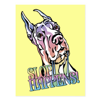 Great Dane Slop Happens Pastel Postcard