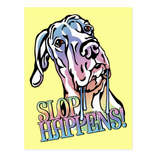 Great Dane Slop Happens Pastel UC Postcard