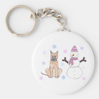 Great Dane & Snowman Keychain
