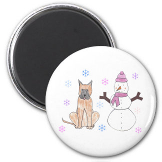 Great Dane & Snowman Magnet