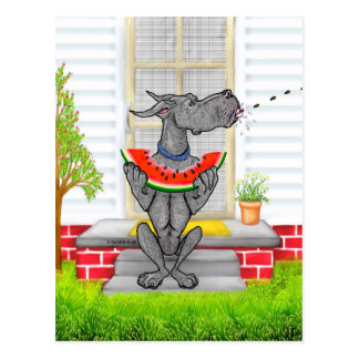 Great Dane SPIT Black Postcard