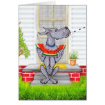 Great Dane SPIT Blue Greeting Card