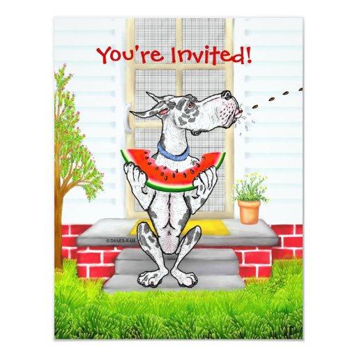 Great Dane SPIT Harlequin 4.25x5.5 Paper Invitation Card
