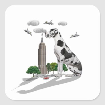 Beach Themed Great Dane Square Sticker