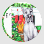 Great Dane Stockings Blue Gift Tags Sticker