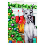 Great Dane Stockings Blue Greeting Cards
