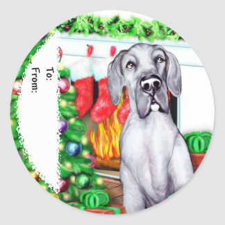 Great Dane Stockings Blue UC Gift Tags
