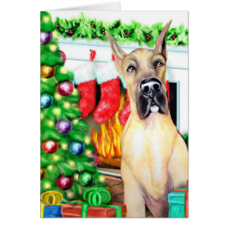 Great Dane Stockings Fawn Greeting Cards