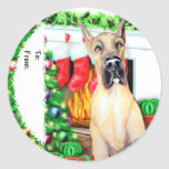 Great Dane Stockings Fawn Gift Tags Round Sticker