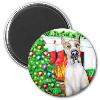Great Dane Stockings Fawnequin 2 Inch Round Magnet