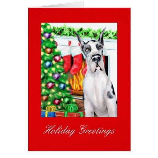 Great Dane Stockings Harlequin Card