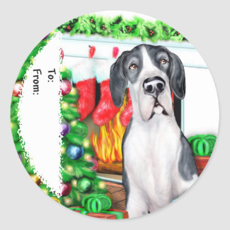 Great Dane Stockings Mantle UC Gift Tags Sticker