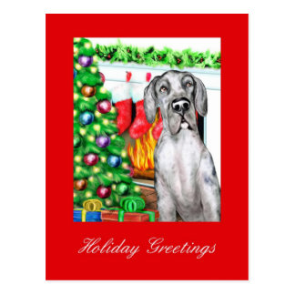 Great Dane Stockings Merle UC Postcard