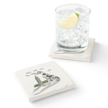 Beach Themed Great Dane Stone Coaster