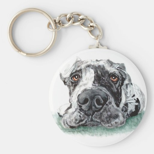 Great Dane Taped Up Merle Keychain