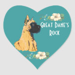 Great Dane - Turquoise Floral Design Heart Sticker
