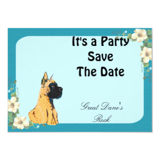 Great Dane - Turquoise Floral Design Custom Announcements