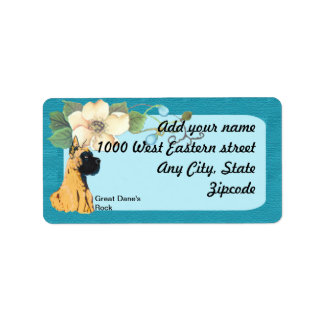 Great Dane - Turquoise Floral Design Label