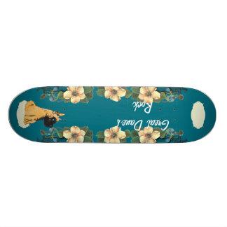 Great Dane - Turquoise Floral Design Skate Deck