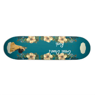 Great Dane - Turquoise Floral Design Skateboard