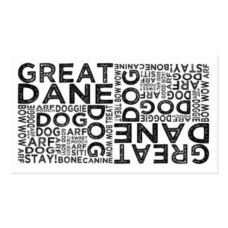 Great Dane Typography Double-Sided Standard Business Cards (Pack Of 100)